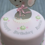 Pink and Grey Elephant Cake