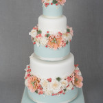 Peaches and Green Floral Wedding Cake