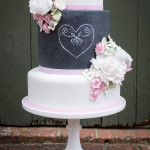 Chalkboard tier with hearts and flowers