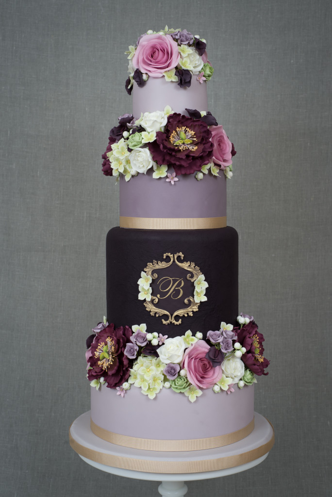 Gold Monogram Floral Wedding Cake